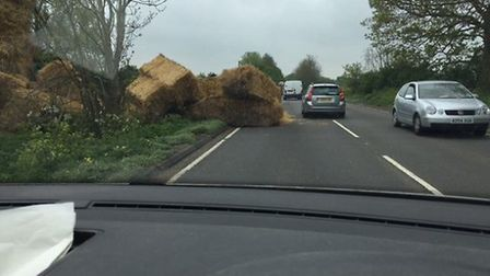 The bales toppled into the A146 between Norwich and Beccles. Christopher Mortimer
