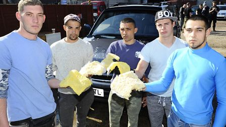 Pictured from left, car-wash workers: Ermal Sinaj, Podeanu Ciprian, Tabeica Marius, Cirstea Alin an