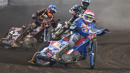 Robert Lambert, red, will be getting his skid on again at Scunthorpe this evening. Picture: IAN BURT