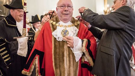 Scenes from the King's Lynn and West Norfolk Mayor making 2016 - New Mayor David Whitby gets his cha