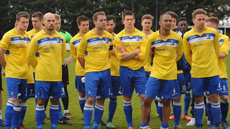 Norwich United (yellow) against Mildenhall in the Thurlow Nunn League Challenge Cup final at Diss. A