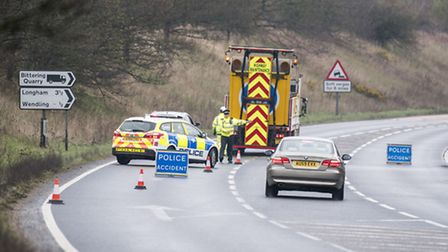 Police at the scene of the fatal crash on the A47 near Scarning on April 4.. Picture: Matthew Usher.