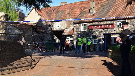 The collapsed part of the Kings Head Pub in Thetford.