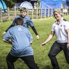 Rachael Burford passes on top tips to some youngsters