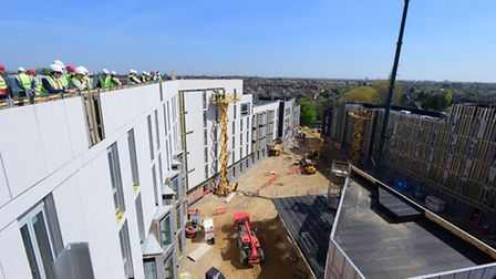 The new student accommodation at the UEA where Vice-Chancellor David Richardson performed the toppin