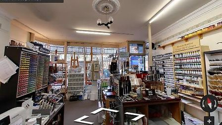 A snapshot of a virtual tour at Norwich Art Suppliers.