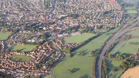 The A11 at Attleborough from the air. Picture: James Bass