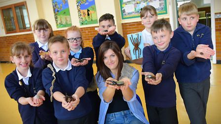 Cbeebies star, TV zoologist Jess French and Wensum Junior School pupils launch the nature themed EDP