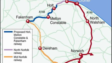 The proposed route of the Norfolk Orbital Railway.