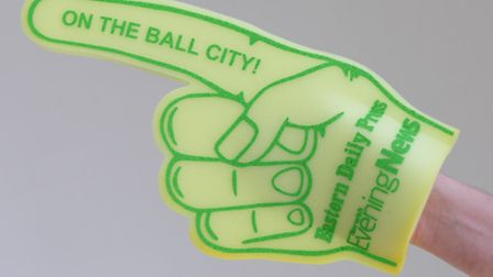 We are giving away a free giant foam Norwich City hand with every copy of the magazine sold at the E