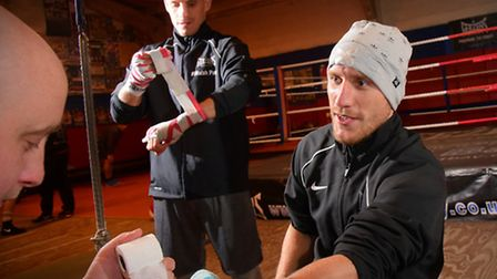 Liam, left, and Ryan Walsh ahead of their big bouts. Picture: SIMON FINLAY
