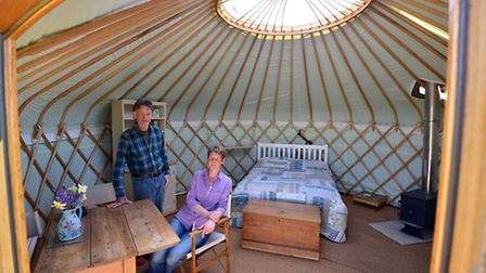 Nick and Kim Hoare from Ivy Grange Farm near Halesworth run a glamping site with 5 Yurts.PHOTO: Nick