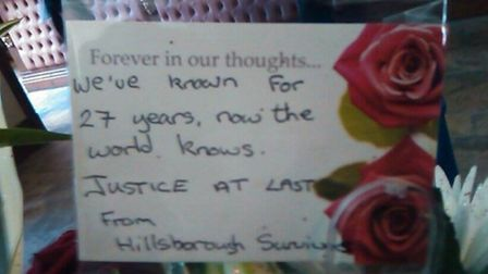 Tributes at the memorial to the 96
