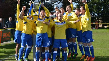 Norwich United celebrate retaining the Thurlow Nunn Premier Division title after beating Long Melfor