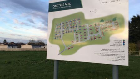 The site of a planned development of 23 mobile homes in Norwich Road, Attleborough