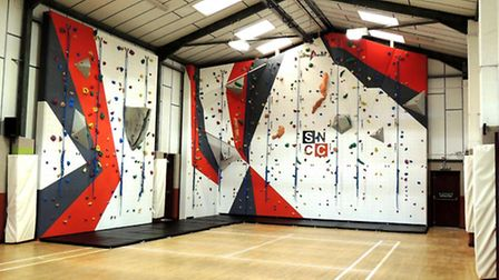 New climbing wall at the Morley Village and Sports Hall, near Wymondham.