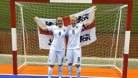 Gemma Sanders and Laura Wiseman seen in their England tops