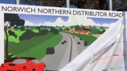 NDR (Norwich Northern Distributor Road) sign unveiling goes wrong...