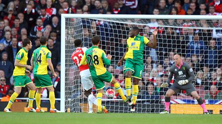 Danny Welbeck lashes home Arsenal's match-winner in the 1-0 Premier League victory against Norwich C