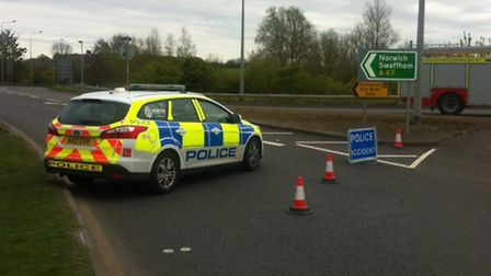 Police closed the A47 after a crash at Middleton, near King's Lynn. Pic: David Bale.