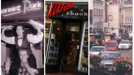 Norwich in the 90s: Peppermint Park, Kulture Shock and St Stephens Street. (L-R)