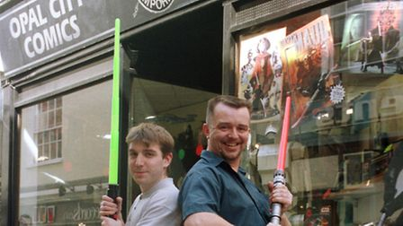 GARY MOXON THE OWNER OF THE STAR WARS EMPORIUM ON LOWER GOAT LANE (RIGHT) AND IAN KETTLE WITH TOY LI