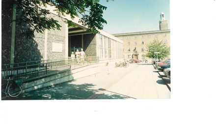 Norwich central library forecourt Aug 1990