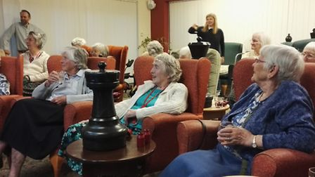 NNF16. Corton House residents enjoying the theatre production of Seen but not Heard from the comfort