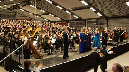 The Norwich Philharmonic Orchestra and Chorus after performing Mahler's Symphony No.8 at the Norfolk