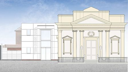 Architectural drawings of Diss Corn Hall after its refurbishment.
