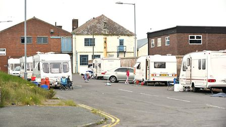 A group of travellers set up on Bloomfield Road in the South Denes area of Great Yarmouth.Picture: J