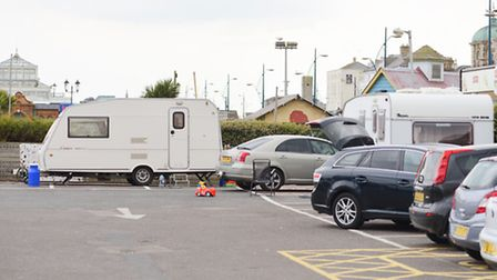 Several caravans belonging to travellers in the car park next to the Marina Centre in Great Yarmouth