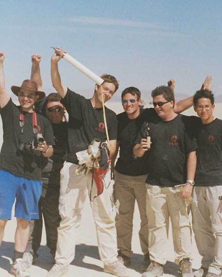 Ben Jarvis andhis team after the original altitude record attempt in 2000