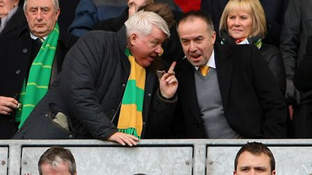 Norwich's then Chairman Alan Bowkett and Chief Executive David McNally before a game against Wigan i