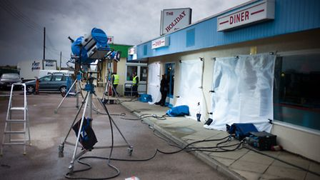 The Chameleon: Filming equipment on location in Newport Road, Hemsby. Photo: October Films
