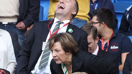 David McNally enjoying a joke with Delia Smith before the match at Cardiff City in 2014.