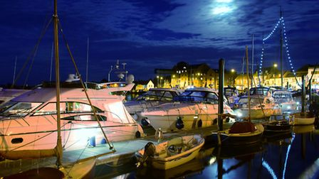 Wells harbour lit by the moon light on a summers night.PHOTO BY SIMON FINLAY