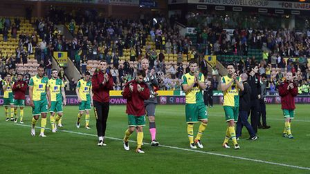 The Norwich City players during the lap of appreciation. Picture: Paul Chesterton/Focus Images