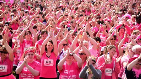 The 2015 Race for Life at the Norfolk Showground. The warm-up. Picture: DENISE BRADLEY
