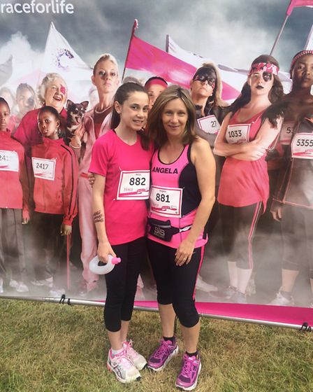 Millie Bell and her mother, Angela Bell, at the Race for Life 2015