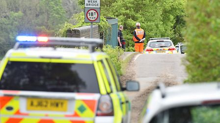 Emergency services at the scene of an incident between Postwick and Brundall on the railway track.Pi