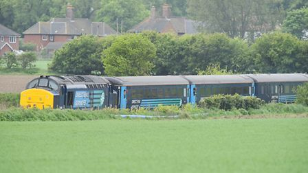Emergency services at the scene of an incident between Postwick and Brundall on the railway track. A