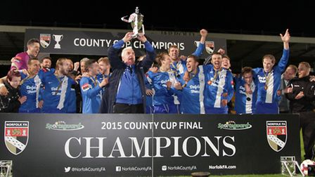 Wroxham lifted the Norfolk Senior Cup in 2015, will it be Dereham Town or Norwich United tonight? Pi