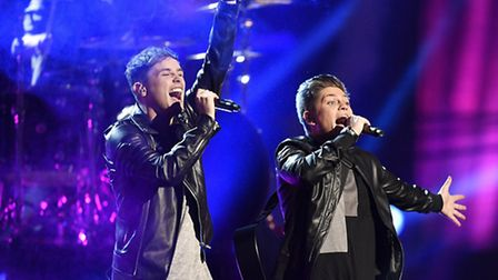 Joe and Jake of the United Kingdom perform during the first dress rehearsal for the Eurovision Song