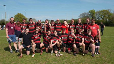 Wymondham celebrate beating UEA in the Norfolk Plate final at the Woodforde's Big Rugby Day.