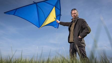 Bill Blake has used a camera attached to a kite to photograph the Fens - One of the kite used. Pictu