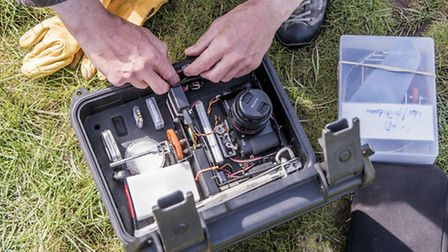 Bill Blake has used a camera attached to a kite to photograph the Fens - One of the camera rigs. Pic
