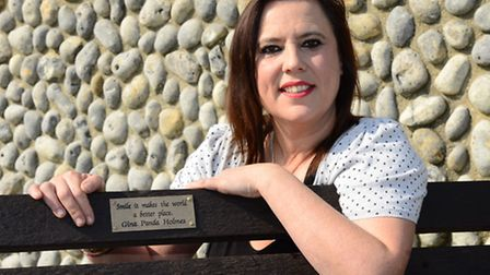 Lisa Heir with the memorial bench in Sheringham to her daughter Gina Holmes, who died from a brain i