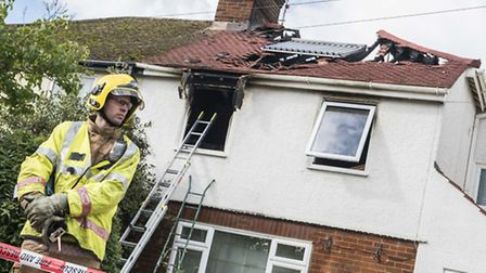 Emergency services at the scene of the house fire on Dereham Road in Hempton, near Fakenham. Picture