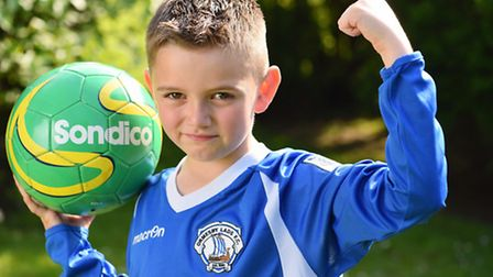 Luke Wacey (7) who has won a competition to be a walk on boy with Crystal Palace at the FA Cup Final